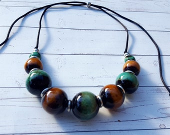 Tagua Chunky necklace/ Statement Necklace/ Rainbow beaded necklace/ Colorful necklace/Moms gifts ideas/ Diva jewelry/ Handmade Eco jewelry