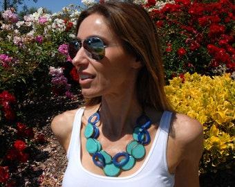 Bold & Playful  layered tagua nut necklace by Allie/statement necklace/chunky necklace/fashion jewelry/handmade jewelry/ beach jewelry