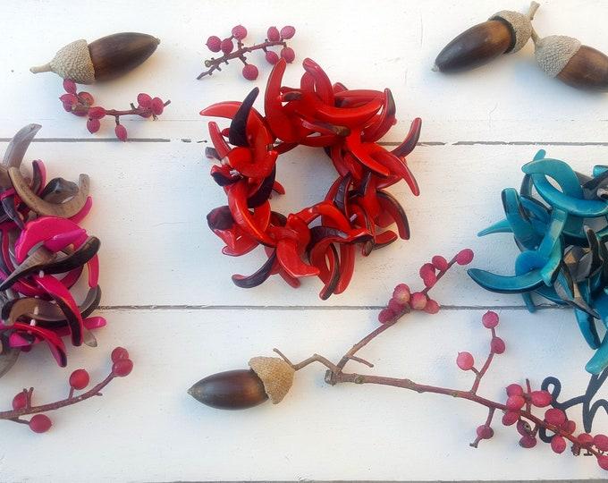 C shaped rustic tagua nut bracelets spring colors/chunky bracelets/c bracelet/ handmade bracelets/ stretchy bracelets/