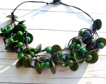 Multilayers tagua & acai necklace/tagua jewelry/ chunky necklace/ statement jewelry/turquoise necklace/green necklace