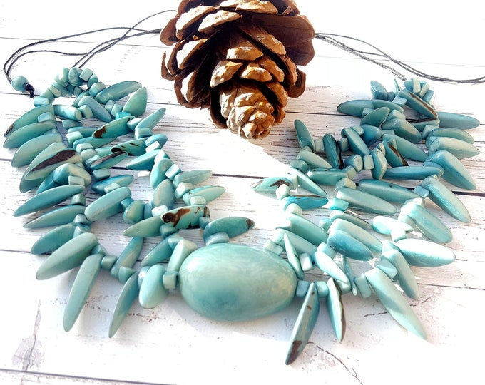 Featured listing image: Chunky tagua nut necklace by Organic Jewelry Allie/ aqua necklace/statement necklace/collar necklace/chunky necklace
