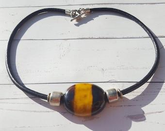 Choker Necklace/ Animal print Choker / Tagua nut choker//Leather choker/ Tiger choker/ Gothic necklace/ Badass choker / Nut jewelry by Allie