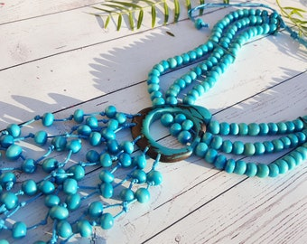 Tassel tagua necklace/ waterfall  necklace/ native american style/turquoise necklace/bold jewel/tribal necklace