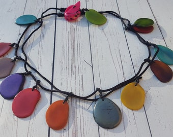 Rainbow tagua necklace/ double wear/tassel long necklace/collar necklace by Allie/handmade jewelry