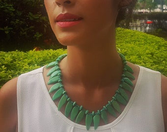 Moana tagua necklace/ spiked necklace/diva jewelry/Hawaiian jewelry/beach jewelry/islander jewelry/tropical jewelry/handmade necklaces