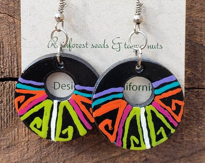 Geometrical  neon abstract painting earrings  eighties inspired wood earrings by Allie