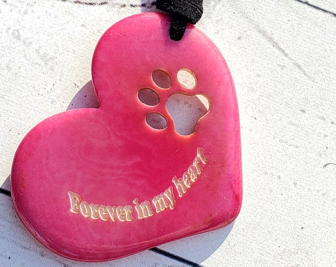 Featured listing image: Tagua nut dog heart paw pendant/pet memorial/ paw pendant/ gift ideas forever in my heart/for a cause/charity gifts/dog lover gift
