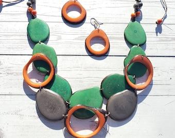 Tagua teal Necklace/Bib necklace/Statement necklace/Handmade jewelry/ Tiki Beach jewelry/Organic jewelry by Allie