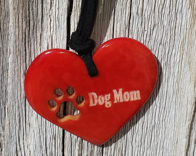 Tagua heart & paw pendant/  dog mom jewelry /pet parents gift/for a cause/dog lover gifts/ paw jewels