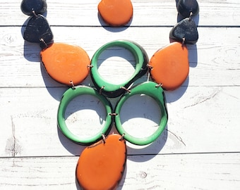 Wild FLora/ statement necklace/bib necklace/ bold jewelry/tropical necklace/tagua necklace by Allie