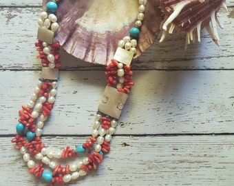 Coral and pearls necklace/ Beach necklace/  Native American Turquoise Necklace/ Handmade long necklace/ Mothers day gift/ Gifts for her