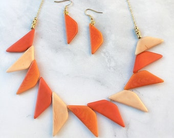 Geometric Necklace/ Triangles Tagua Necklace Set/Statement necklace/Minimalist necklace/ Gifts  for her/Organic jewelry by Allie