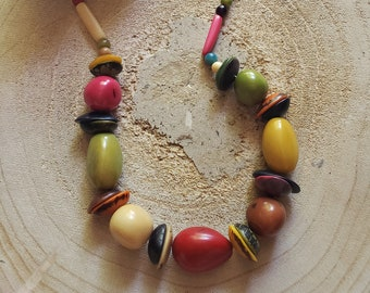 Chunky Tagua necklace/ Eco friendly natural jewelry/ Black nuts necklace/Multicolor necklace/Olive necklace/ Bohemian Rustic Necklace