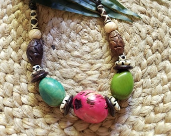 Tribal  Rustic jewelry/ Tagua chunky nuts necklace/ African bone and tagua necklace/Rainbow Necklace/Ethnic  Necklace/ Organic boho jewelry
