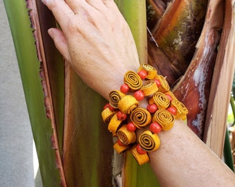Wrap spiral acai orange roses bracelet/Organic aromatherapy bracelet/boho yoga jewel/ Recycled orange peels bracelets/Eco friendly bracelet