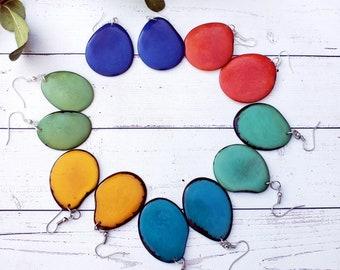 Colorful Dangle Earrings/ Tagua Earrings / Boho Earrings/Eco Earrings/Turquoise/ green/ Aqua  earrings/Yellow Earrings/Simple earrings