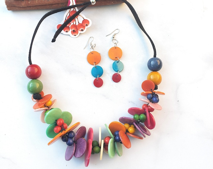 Featured listing image: Colorful Chunky necklace /Rainbow Tagua necklace/ Turquoise necklace/Statement necklace/Turquoise necklace set/ Gifts for her/  Eco jewelry