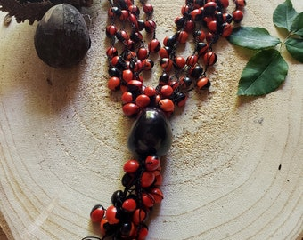 Red and black Tagua necklace/ Tassel Necklace/ Tribal Rustic necklace/ Organic Eco friendly necklace/Evil Eye necklace