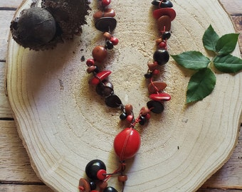 Tagua nuts long necklace/ Bohemian necklace/ Rustic Necklace/ Eco friendly jewelry/Colorful necklace/Yellow Necklace/Red Necklace