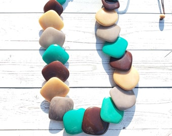 Overlapped squares geometrical tagua  necklace by Allie/statement neckalce/minimalist necklace
