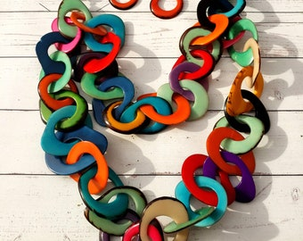 Long chain tagua necklace/ Statement Necklace/ Layered Necklace /Bold Rainbow Necklace/Chunky Necklace/Colorful jewelry/ ECOJEWEL BY ALLIE