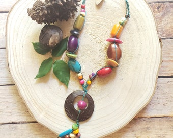 Tagua  nuts long necklace/ Bohemian necklace/ Rustic Coconut Necklace/ Tagua nuts Eco friendly jewelry/Colorful necklace