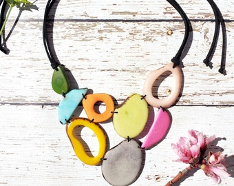 Tagua necklace /spring necklace bib/ asymmetrical pastels necklace bib/  by Allie