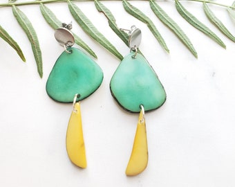 Tagua half moon dangle earrings with steel silver posts/ Tagua long TEAL earrings/Colorful long earrings/ Eco hypoallergenic earrings