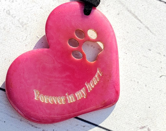 Tagua nut dog heart paw pendant/pet memorial/ paw pendant/ gift ideas forever in my heart/for a cause/charity gifts/dog lover gift