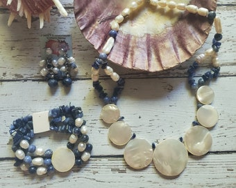 Mother pearl Lapis Lazuli necklace/ Statement necklace Set 3 PC/Bridal jewelry/ Anniversary gifts/Beach jewelry/Handmade circles necklace