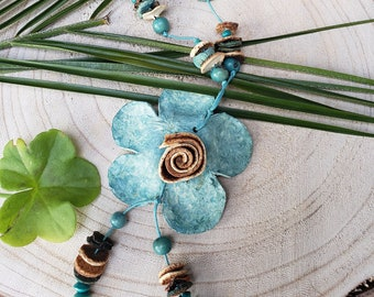 Aqua Flower necklace/ Orange peels Necklace/ Organic necklace/Handmade necklace/Cool gifts ideas/Eco jewelry/ by Allie