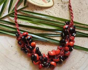 Eco friendly natural necklace/ Boho necklace/Handmade necklace/Artisan jewelry /Red crochet necklace/ Seeded necklace/ Evil Eye jewelry