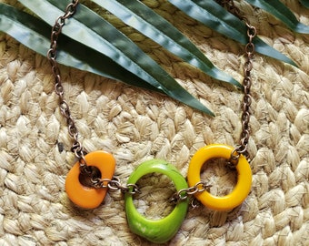 Tagua colorful necklace/ Rings in chain necklace/ Infinity rings necklace/ Statement necklace/ Colorful jewelry /Eco friendly jewelry