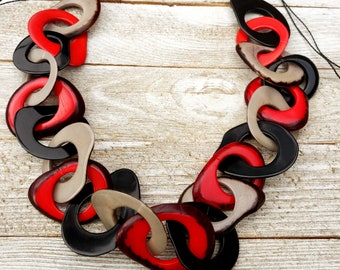 Unchained # 1 tagua chained necklace by Allie/ /statement necklace/chunky necklace/handmade jewel