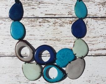 Bib necklace /Tagua aqua necklace/ Pinks pastels necklace/Rainbow  necklace/ Statement bib necklace/ Organic jewel by Allie