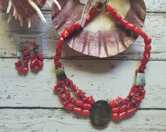Red Coral statement necklace/ Mothers day gift/ Victorian style jewelry/ Coral bold necklace/ Handmade jewelry necklace/ Abalone necklace