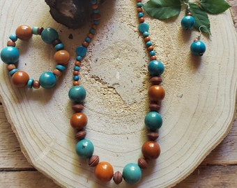 Tagua long necklace/ Beaded necklace/ Tagua jewelry sets /Eco friendly natural jewelry/ Colorful necklaces/ Rustic Beach jewelry