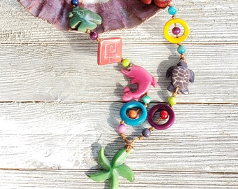 Deep Ocean tagua ocean inspired long necklace hand carved sea life multicolor/ by Allie