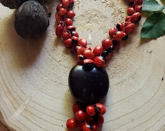 Red Tassel necklace/ Rainforest Tribal Necklace/ Tagua nut necklace/  Eco friendly necklace/Evil Eye necklace Handmade