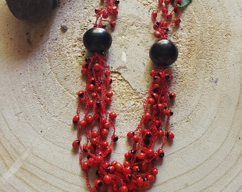 Bohemian Red Tagua necklace/ Rainforest Tribal  necklace/ Eco friendly necklace/Love Seeds necklace/Evil eye necklace