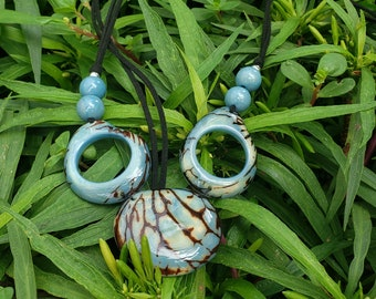 Statement Tagua Necklace/ Glacier aqua or ivory necklace/ Vegan ivory necklace/ Handmade ecofriendly beaded necklace /Jewels giving back