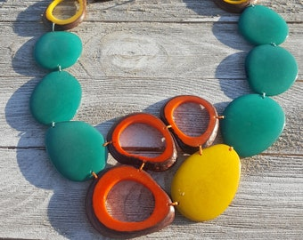 Tagua nut multicolor bib necklace/ teal bib/ Peacock necklace/ statement necklace/beach jewelry/ teal necklace/by Allie