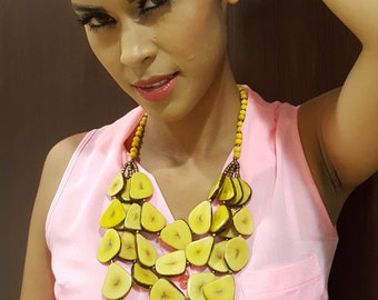 Bonita banana yellow tagua necklace/ statement jewelry/handcrafted jewelry/chunky necklace/mother's day gift idea/fashion jewelry