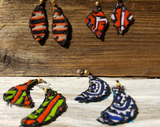 """Geometrical stitched cotton fabric earrings 80ss inspired  by Allie long earrings 2"""""""