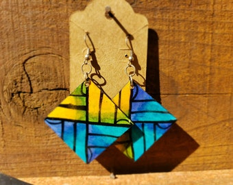 80s and 70s inspired teca wood romboids hand painted bright earrings mod or new  wave vintage look