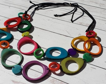 Rings and calamari layered TAGUA  necklace multicolor by Allie / Statement necklace/handmade necklace/beach jewelry