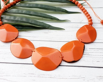 Faceted ovals  tagua statement necklace set  /geometric necklace/ minimalist by ALLIE