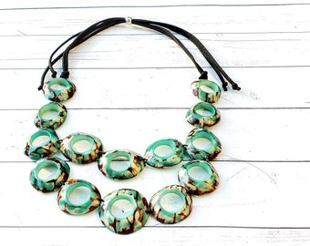 Infinity rings necklace/ Tagua teal caribbean green necklace/ Statement necklace TAGUA bib/ Rustic necklace/By ALLIE