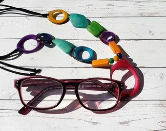 Rainbow Tagua necklace/ Eye Glass holder/Sunglasses chain holder/Artisan  jewelry/ Eyeglass chain lanyard necklace/ 2 in 1 readers keeper