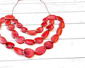 Winter princess tagua petals layered necklace by ALLIE berry or  red necklace